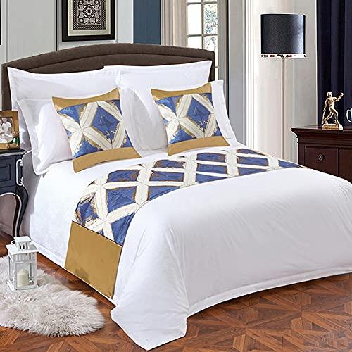 Mrzyzy Bed Runner Suave y Decorativo y Protector Moderno Europeo Amigable con el Medio Ambiente Impresión Geométrica de Estilo y Teñido Camas de Habitación de Hotel Simple Colcha de Lujo