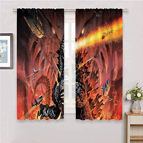 Godzilla - Cortinas opacas para decoración del hogar, con aislamiento térmico Godzilla, cortinas oscurecedoras para sala de estar, 2 paneles de 182 x 182 cm