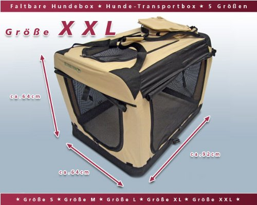 Faltbare Hunde Transportbox / Auto Transportbox XXL Schwarz-Beige