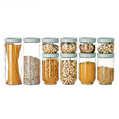 JoinBuy.R - Juego de 10 recipientes herméticos de almacenamiento de alimentos con tapas, cajas de plástico para ahorrar espacio, diseño apilable, almacenamiento de alimentos secos para ahorrar espacio