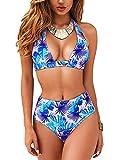Voqeen Bikini de Cintura Alta para Mujer Conjunto de Cuello Halter Polka Dot Leaves Traje de baño con Estampado de Cuadros Traje de baño de Playa de Verano