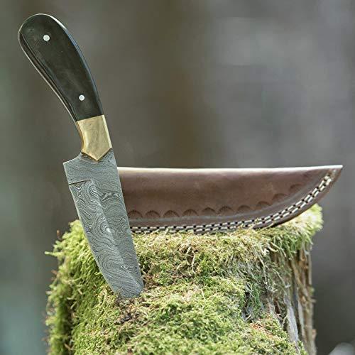 elToro Brass Horn - Damast - Jagdmesser - 12,5cm - inkl. Lederscheide