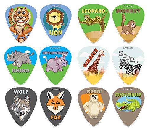 Creanoso Wild Animal Plectrums (12-Pack) - Premium Music Gifts & gitaar accessoires voor jongens Son Mannen Hem Echtgenoot Dad Boyfriend Gift van de Musicus - Medium Gauge Celluloid - Fingerstyle Guitar Picks