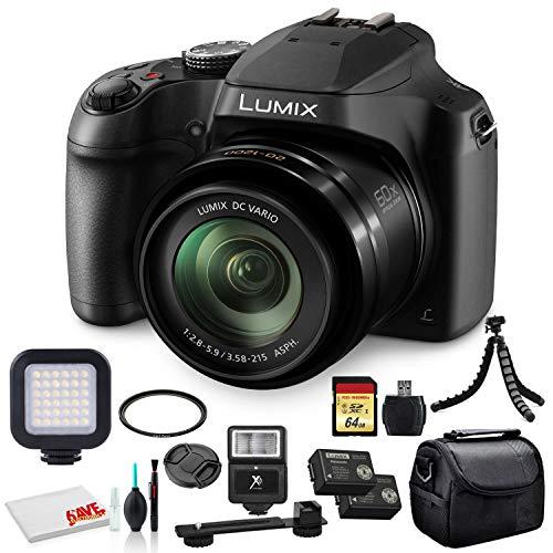 Panasonic Lumix DC-FZ80 Digital Camera (DC-FZ80K) - Bundle - with 64GB Memory Card + LED Video Light + DMW-BMB9 Battery + Digital Flash + Soft Bag + 12 Inch Flexible Tripod + Cleaning Set + More
