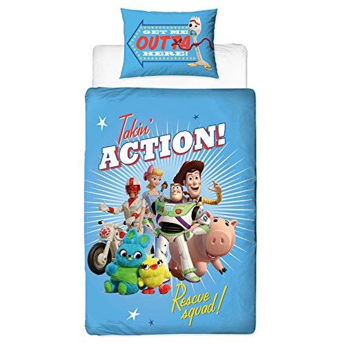 Juego de Funda de edredón Oficial de Toy Story 4, diseño de Rescate, Reversible, de Dos Caras, con Woody & Buzz Lightyear con Funda de Almohada a Juego.