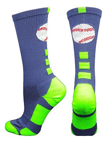 MadSportsStuff Baseball-Socken mit Logo (mehrere Farben), Jungen, Marineblau/Neongrün, Medium