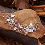 Unicra FLower - Accesorio para el pelo de novia con diamantes de imitación, color rosa