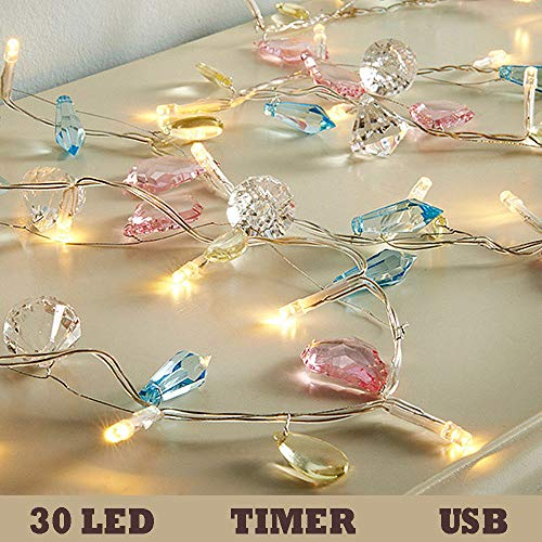 Thanksgiving Decorations Sting Lights Battery Operated, - 30 LED 11 ft Diamond Lights for Bedroom Holidays Party Wedding Decorations