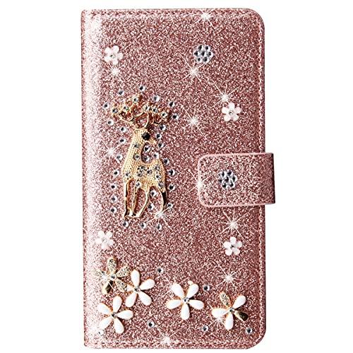 Blllue Funda tipo cartera compatible con Xiaomi Poco X3 NFC, Bling Glitter Lucky Deer Diamond Pu Funda de cuero Flip Phone Cover para Xiaomi Poco X3 NFC - Rosegold