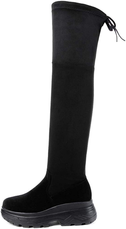 DOSOMI Woherrar Over the Knee Block Chunky Chunky Chunky Heel Stretch stövlar -- Lace Up Round Toe mode skor  nya märkesvaror