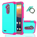 YmhxcY ZTE MAX XL Case,ZTE Blade Max 3 Case,ZTE Bolton Case (4G LTE) with Phone Stand, [Shock Absorption] Hybrid Dual Layer Armor Defender Protective Case Cover for ZTE N9560 / ZTE Z986U-ZK Pink+Mint