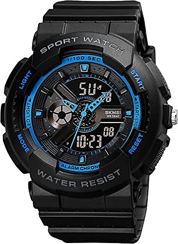 QHG Relojes Militares Multi Function Watch Sports Watch DIRIGIÓ Relojes de Alarma Impermeable Digital Reloj táctico (Color : Blackblue)