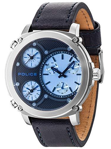 Police Herren Multi Zifferblatt Quarz Uhr mit Leder Armband PL14830JS.02