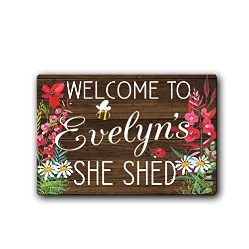She Shed personalized wildflower floral rustic styled Metal Sign