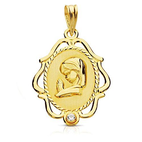 Alda Joyeros Medalla Virgen niña con circonita en Oro de18 Ktes
