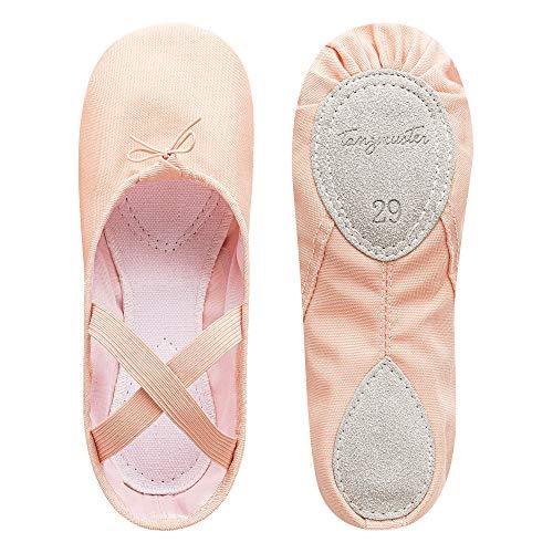 tanzmuster ® Ballettschuhe Mädchen Ballettschläppchen - Charlie - Geteilte Ledersohle, rosa-apricot, Größe:28