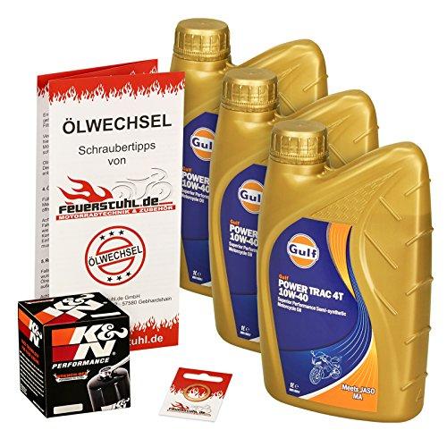 Gulf 10W-40 Öl + K&N Ölfilter für Honda CB 1000 R, 08-15, SC60 - Ölwechselset inkl. Motoröl, Filter, Dichtring