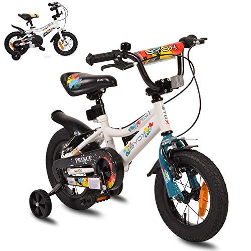 Byox Kinderfahrrad 12 Zoll Prince weiß, Stützräder, Kettenschutz, sportlich
