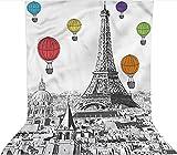 Fondo de telón de fondo de 1,5 x 2,1 m, torre Eiffel y globos decorados telón de fondo de tela de microfibra, pantalla plegable de alta densidad para cumpleaños, bodas, festivales temáticos de fiestas