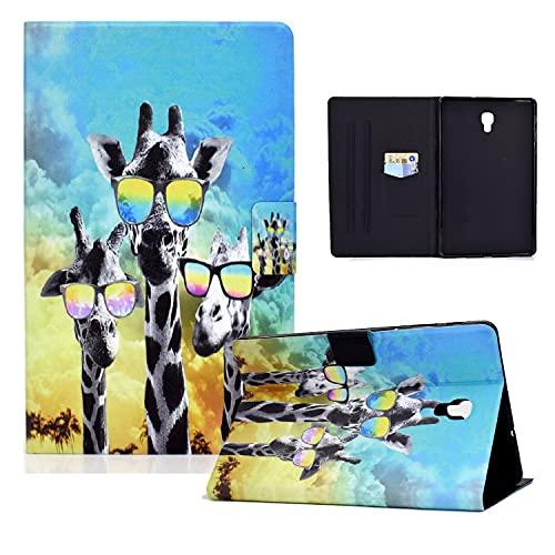 zl one Compatible con/reemplazo para Tablet PC Samsung Galaxy Tab A 10.5 2018 SM-T590 PU cuero Flip Cover Stand Wallet Case (gafas jirafa)