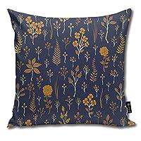 ネイビーブルー&マスタードイエロー花柄装飾的なスクエアスロー枕カバーカラフルなスロー枕枕ケース45 X 45 cm