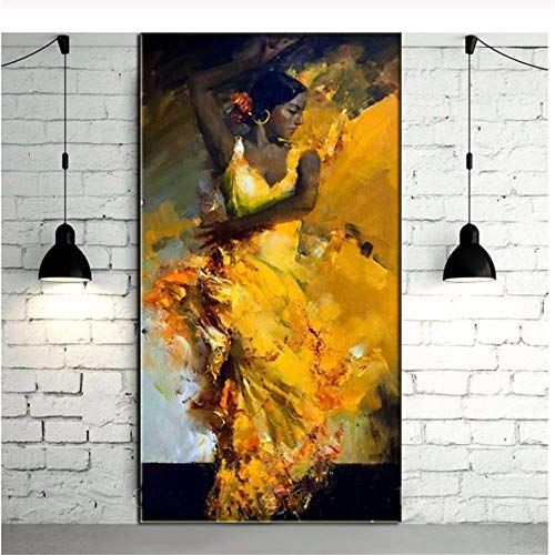 YaShengZhuangShi Gemälde auf Leinwand gemalt Abstraktes Porträt Sexy Flamenco-Tänzerin im spanischen Stil im gelben Kleid Öl Wandkunst Weihnachten 60x90cm kein Rahmen