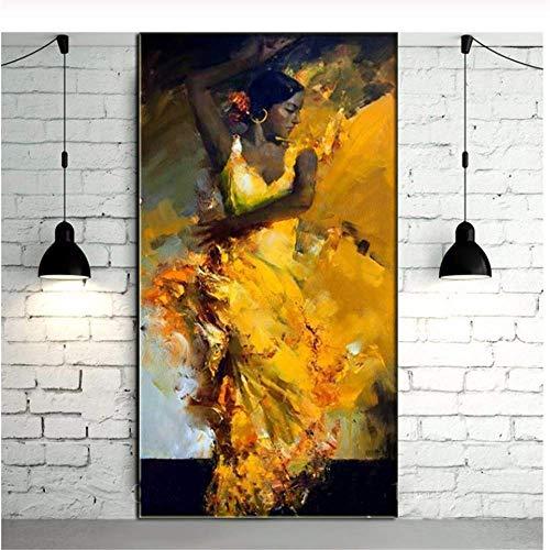 YaShengZhuangShi Pintura sobre Lienzo Pintado Retrato Abstracto Bailarina de Flamenco Sexy de Estilo español con Vestido Amarillo Óleo Pared Arte Navidad 60x90cm Sin Marco