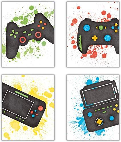 Impressions intéressantes pour jeux vidéo,affiche amusante sur le thème des jeux vidéo, images de manettes de match pour chambre garçon, décoration de salle de jeux 20,3 x 25,4 cm - Sans cadre