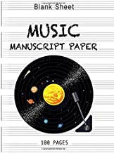 Blank Sheet Music Notebook music books for guitar with chords: White Color: 6 Large Staves Per Page (8.5