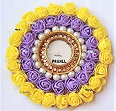 Artificial Flower Rose TEALIGHT Diwali Diya Candle Holder(6 INCH) (Yellow Purple, Acrylic)