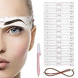 Plantillas de cejas reutilizables para maquillaje de 3 minutos, plantilla de plantillas de cejas de 12 estilos con kit de forma de cejas con correa