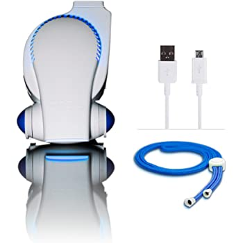 Cool On The Go! Personal Clip On Fan with LED Lights - Versatile Hands-Free Personal Cooling Device - USB Fan/Stroller Fan/Table Fan/Travel Fan/Wearable Fan/Tent Fan/Fan & More. Blue/White
