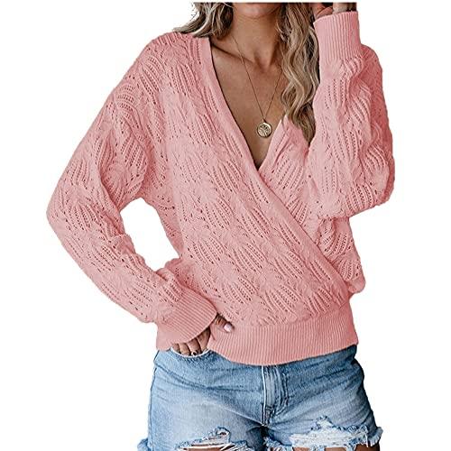 Suéter de punto de las mujeres de color sólido manga larga hueco top suéter