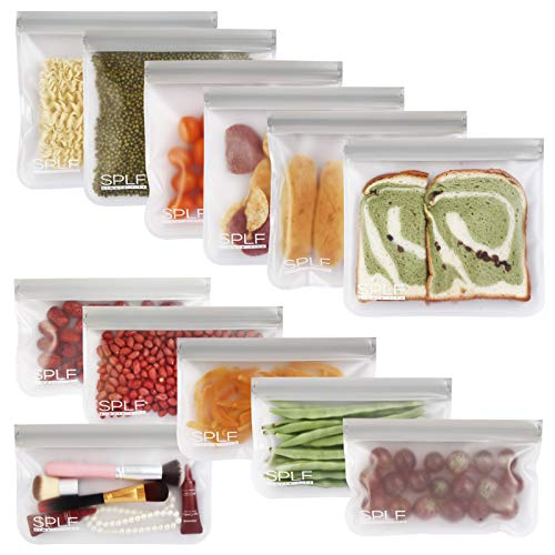SPLF 12 Pack BPA FREE Reusable Storage Bags 6 Reusable Sandwich Bags 6 Reusable Snack Bags Extra Thick Freezer Bags Leakproof Silicone and Plastic Free Lunch Bags for Food Meat Fruit Veggies