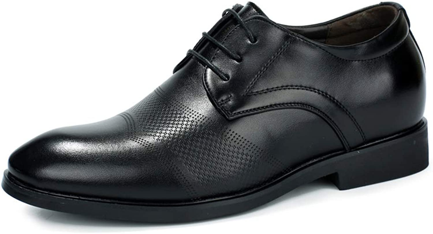 SRY-shoes Men Simple Business Oxford Casual Fashion Carving 3  (4cm) Taller Removable Height Increasing Insole Formal shoes