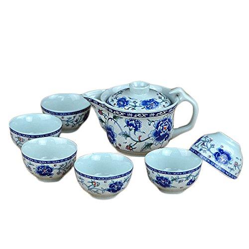 ufengke 7 Pezzi Set da tè Kung Fu Servizio da tè Cinese, Motivo Peonia Sbocciante, Servizio da tè Vintage in Ceramica, per Regalo, La Famiglia E Ufficio -Blu