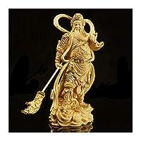 12/18cm絶妙な絶妙なguan gong jia lan木の像Bouddha Bodhisattva vodhisattvaの周りの守護者の装飾 (色 : A GOLD, サイズ : 12.5cm)