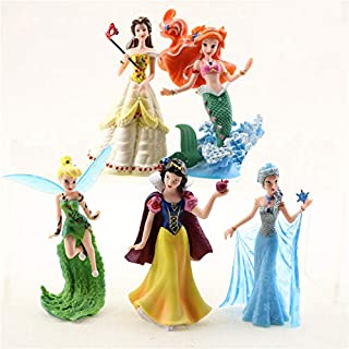 Princess Action Figure Play Set, Cartoon Favorite Princess Figures, Princess Action Figures, Favorite Moves Princess Set, Belle, Ariel, Tinker Bell, Snow White, Elza Birthday Cake Topper (Set of 5)