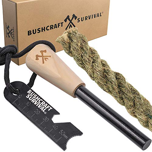 Bushcraft Survival Ferro Rod Fire Starter Kit | Ferro Rod w/Multi Tool Striker & Jumbo Fire Starting Jute Rope -...