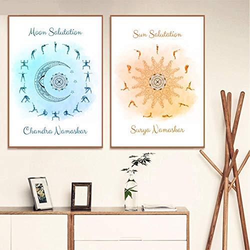 Yoga Sonnengruß & Mondgruß Himmlische Poster und Drucke Yoga Studio Wandkunst Dekor Yoga Geschenk Kunst Leinwand Malerei-40x50cmx2 STK. Kein Rahmen