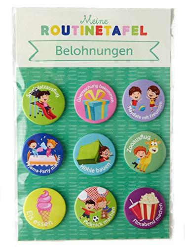PinkMausi 9 Belohnungen Magneten - Tolles Extra & Add-on Belohnungstafel - Magnetisch & auf Deutsch - Für Mädchen & Jungen