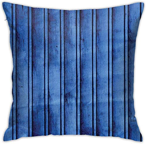 Navy Blue Decor Collection Texture of Vertical Wooden Dirty Old Planks Patterns Retro Grunge Style Artprint Navy Blue Throw Pillow Covers 18inch*18inch,Pillowcase Decorative - No Inserts Included