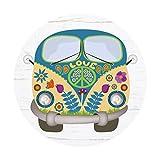 Tappetino mouse Hippie-Bus I Ø 22 cm rotondo I Mouse pad Flower-Power-Bus Peace & Love I dv_339