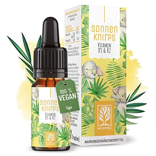 Vitamin D3 K2 Tropfen für Kinder ab 1 Jahr - 100% Vegan für 300 Tage - 5μg 200 IE Vitamin D aus Flechten & Vitamin K für Kinder - Vitamin D Kinder Vitamine - Vitamin D3 Kinder Tropfen Sonnenknirps