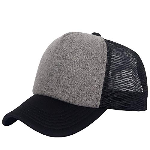 Gorra de béisbol clásica de Oriental Spring, unisex con mitad de malla y 5 paneles, ajustable Negro negro/gris Taille unique