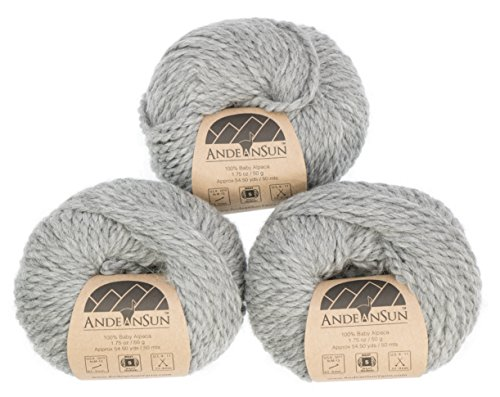 (Set of 3) 100% Baby Alpaca Yarn Bulky #5 (150 Grams Total) Luxuriously Cozy and Caring Soft to Enjoy Knitting, Crocheting and Weaving - Gorgeous Twist and Stitch Definition (Light Grey)