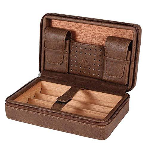 Cxjff Tragbare Zigarren-Humidor Box Travel Leder Zigarren Fall Zedernholz Zigarren Set W/Feuerzeug Zigarrenschneider-Halter, Schwarz