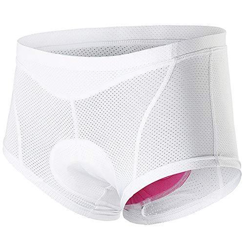 MMSM Damen Radunterhose mit Sitzpolster, MTB Unterhose Gepolstert mit 3D Gel Polster, Schnelltrocknend Atmungsaktiv fahrradunterhose,Weiß,M
