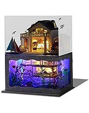 JSTF DIY miniatyr dockhus kit byggmodell Hawaii villa hus med lätt skydd gåva dekoration samling leksak present till vän barn