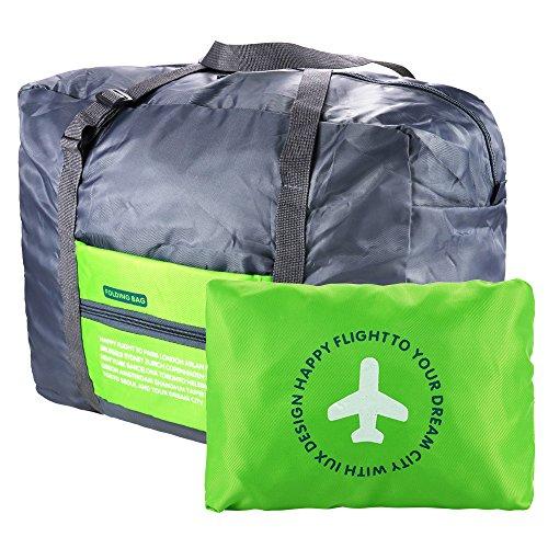 VILLAVIVI Bolsos de Avión con la Maleta de Mano Multifunción Gran Capacidad Plegable Portátil Bolsa de Viaje Equipaje - Azul Verde Naranja (Verde)